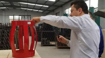 Customer From South America Visit Our Factory And Test Our Integral Type Casing Centralizer